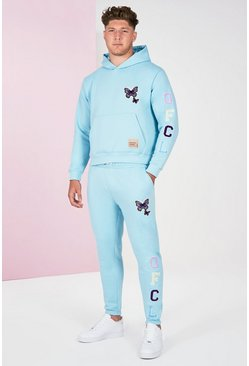Blue Big And Tall Butterfly Text Tracksuit