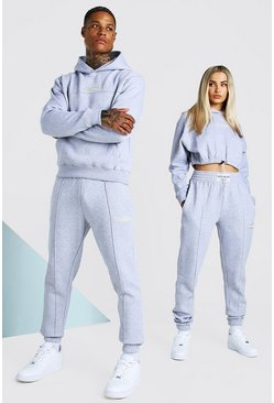 Grey marl ABODE His Cropped Tracksuit With Woven Tab