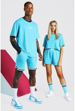ABODE His Set aus Oversized-T-Shirt und Basketball-Shorts, Blau
