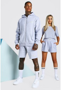 Grey marl ABODE His Zip Through Hooded Short Tracksuits
