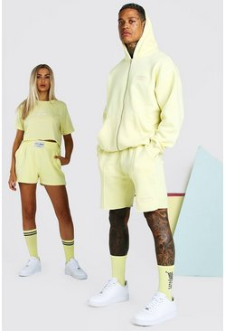Yellow ABODE His Zip Through Hooded Short Tracksuit