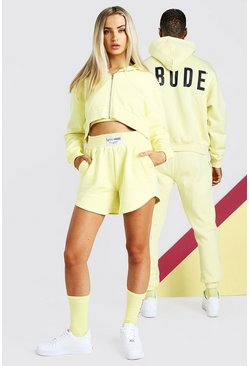 Yellow ABODE Hers 3 Piece Cropped Hoodie & Short Set