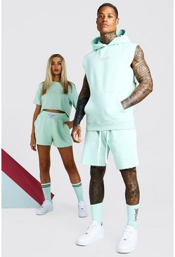 Mint ABODE His Sleeveless Hooded Short Tracksuit