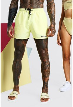Yellow ABODE Back Print Swim Short