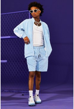 Light blue Man Velour Funnel Neck Short Tracksuit