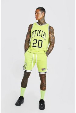 Lime Official Man Vest & Basketball Short Set