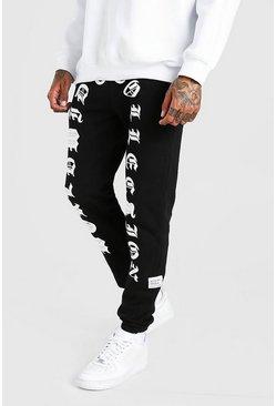 Black MAN Worldwide Print Skinny Fit Jogger