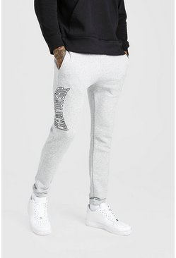 Grey marl MAN Varsity Skinny Fit Jogger