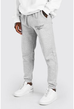 Grey marl Official MAN Regular Fit Jogger With Leg Print