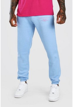 Official MAN Regular Fit Jogginghose mit bedrucktem Bein, Hellblau