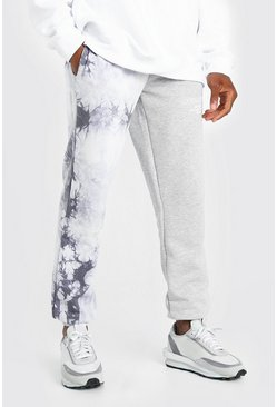 Grey marl Official MAN Spliced Tie Dye Woven Tab Jogger