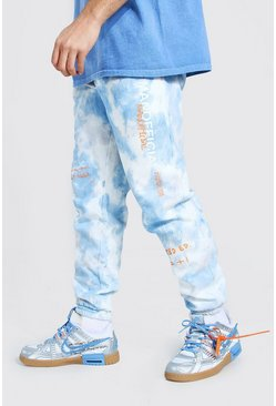 Blue MAN Official Tie Dye Jogger With Graphic Print