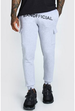 Grey marl Man Official Print Cargo Jogger Fit Jogger