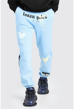 Blue Los Angeles Regular Fit Jogger With Graffiti Print