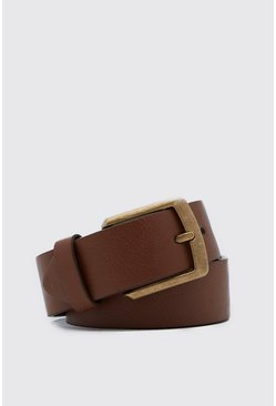 Tan Casual Faux Leather Jeans Belt
