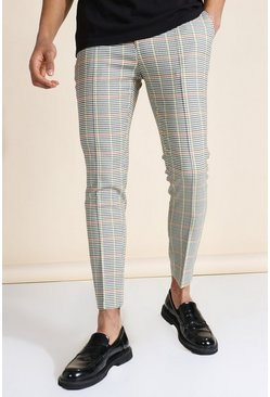 Multi Super Skinny Check Pintuck Tailored Trouser