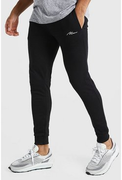 Black Super Skinny MAN Signature Joggers