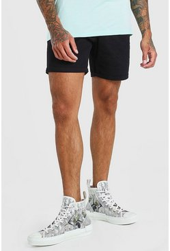 Black Elastic Waist Skinny Fit Chino Short