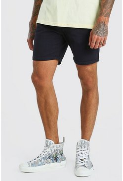 Navy Elastic Waist Skinny Fit Chino Short