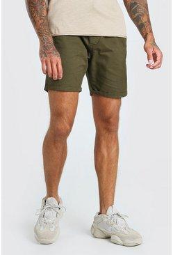 Khaki Elastic Waist Skinny Fit Chino Short