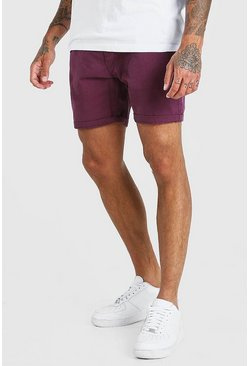 Burgundy Skinny Fit Chino Short