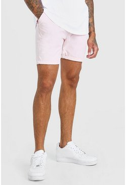 Pink Skinny Fit Chino Short