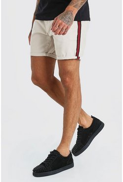Stone Skinny Fit Chino Short With Side Tape