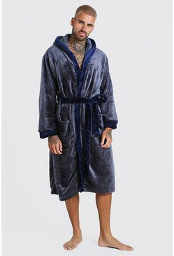 Charcoal Fleece Dressing Gown With Contrast Trim