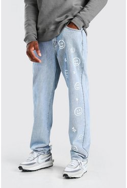 Light blue Relaxed Fit Jeans With Leg Print