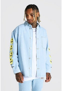Light blue Oversized Paint Splatter Denim Shirt