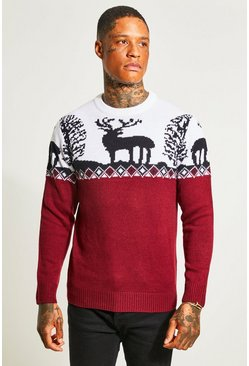 Burgundy Fair Isle Knitted Christmas Jumper