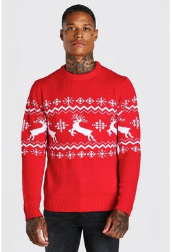 Red Muscle Fit Reindeer Fair Isle Christmas Sweater