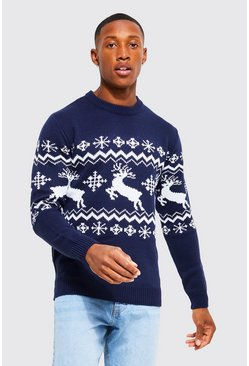 Navy Muscle Fit Reindeer Fair Isle Christmas Sweater