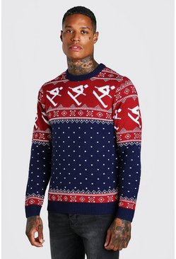 Navy Skiing Fair Isle Christmas Jumper