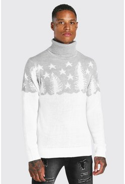 White Muscle Fit Forest Roll Neck Christmas Jumper