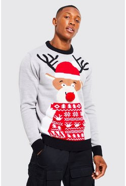 Grey marl Reindeer Santa Hat Christmas Jumper