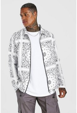 White Bandana Zip Through Harrington