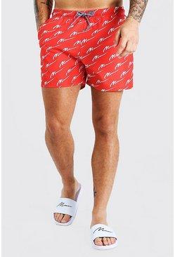 Red MAN Script Mid Length Swim Shorts