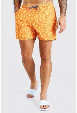 Orange MAN Official Mid Length Swim Shorts