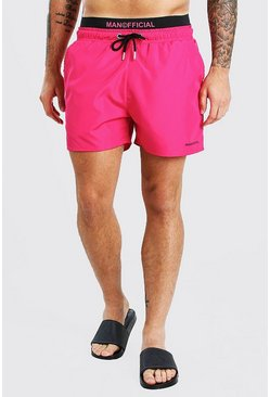Pink MAN Official Mid Length Double Waistband Swim Shorts