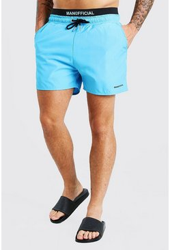 Aqua MAN Official Mid Length Double Waistband Swim Shorts