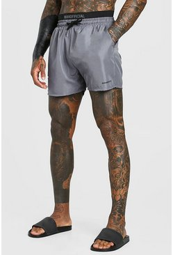 Grey MAN Official Mid Length Double Waistband Swim Shorts