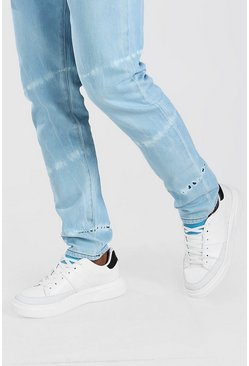 Blue Contrast Tongue Tab Sneakers