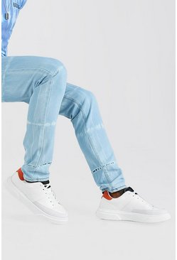 Orange Contrast Tongue Tab Sneakers