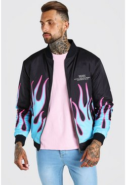 Black Flames Printed Bomber