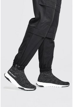 Black Man Reflective Knit Sock Sneaker
