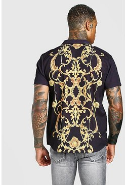 Black Short Sleeve Revere Collar Back Print Baroque Shirt