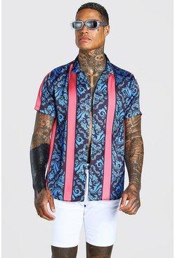 Multi Short Sleeve Satin Floral Stripe Shirt