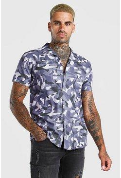 Grey Short Sleeve Revere Collar Abstract Print Shirt