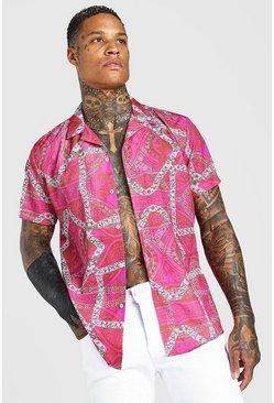 Pink Oversized Revere Collar Chain Print Shirt